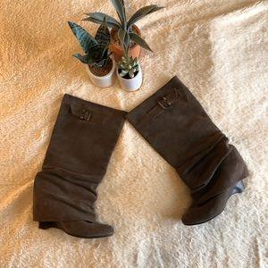 Naughty Monkey Suede Wedge Heel Boots